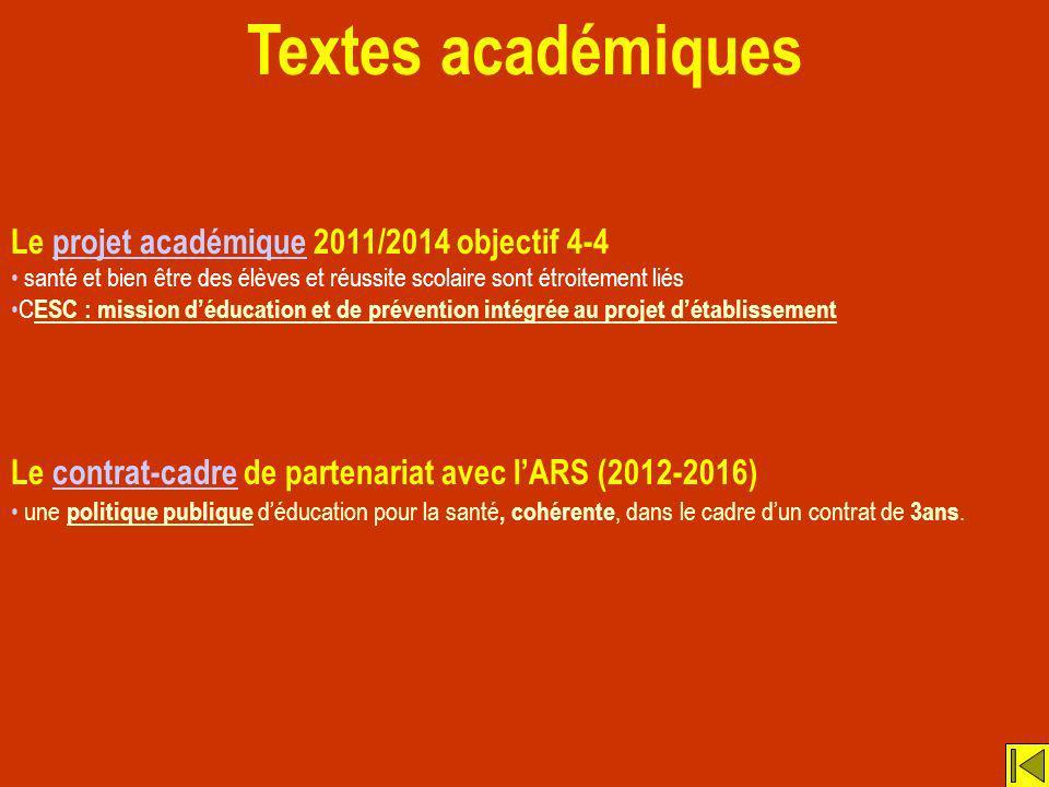 Textes académiques Le projet académique 2011/2014 objectif 4-4