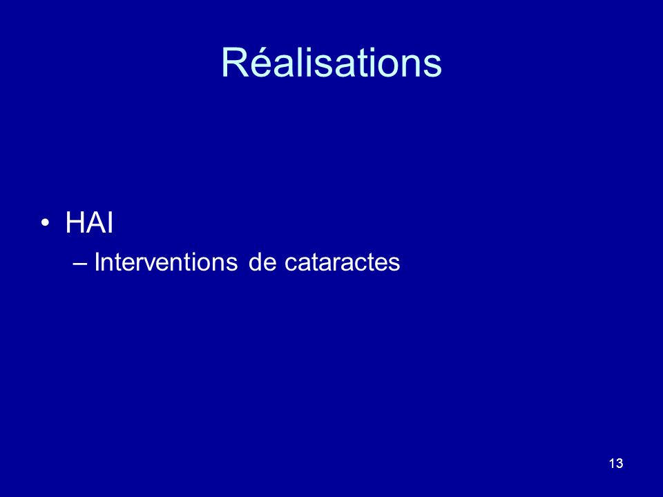 Réalisations HAI Interventions de cataractes