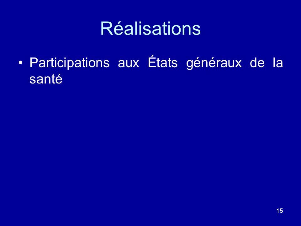 Réalisations Participations aux États généraux de la santé