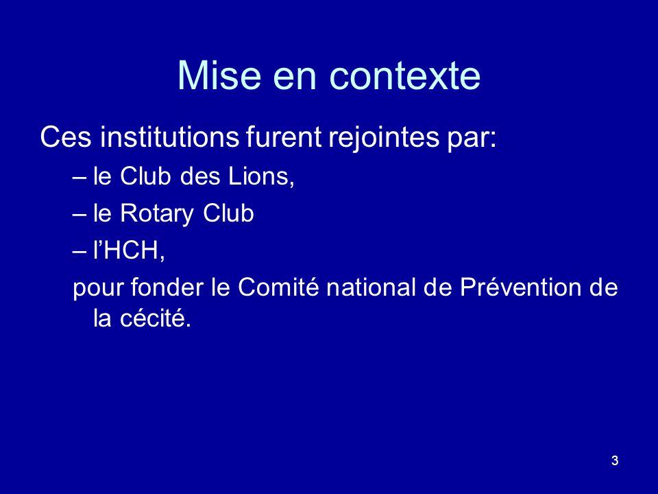 Mise en contexte Ces institutions furent rejointes par: