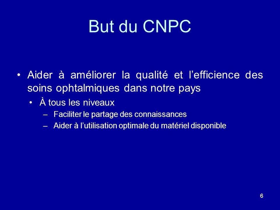 But du CNPC Aider à améliorer la qualité et l'efficience des soins ophtalmiques dans notre pays. À tous les niveaux.