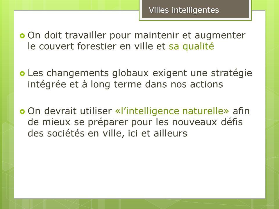 Villes intelligentes On doit travailler pour maintenir et augmenter le couvert forestier en ville et sa qualité.