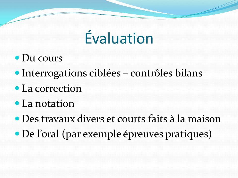 Évaluation Du cours Interrogations ciblées – contrôles bilans