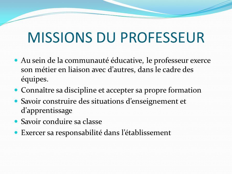 MISSIONS DU PROFESSEUR
