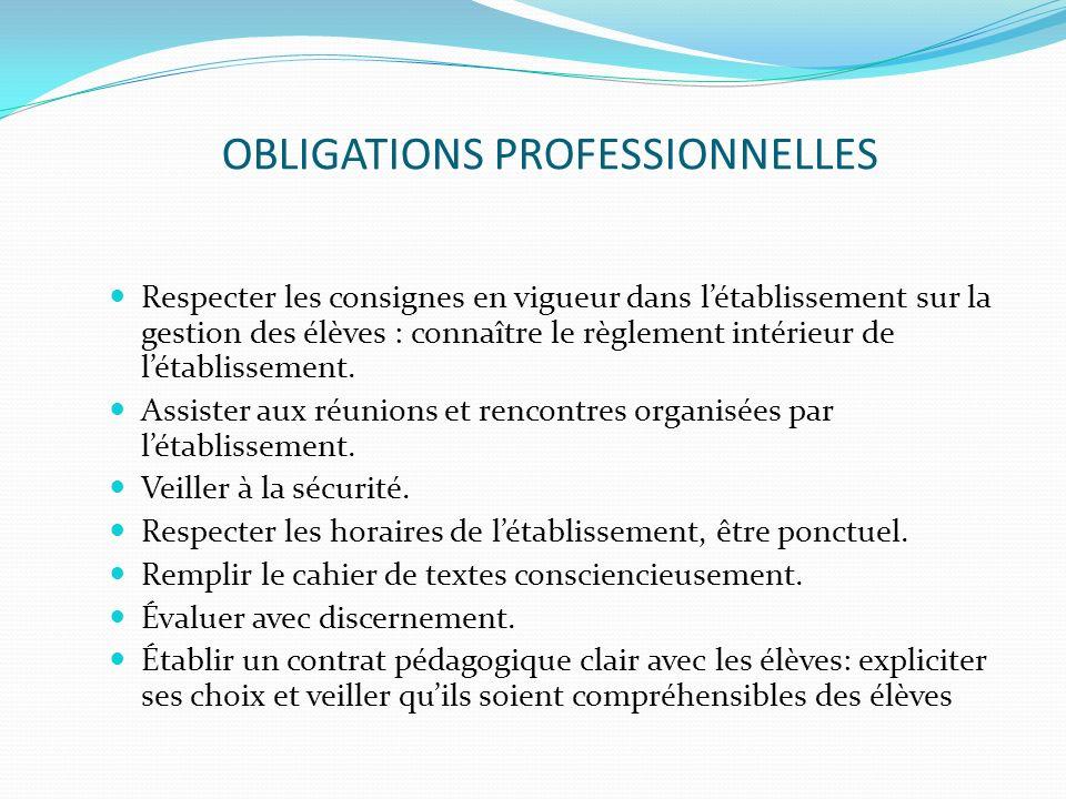 OBLIGATIONS PROFESSIONNELLES