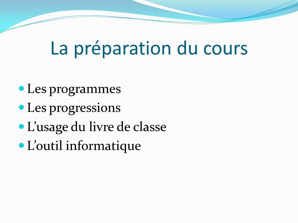 La préparation du cours