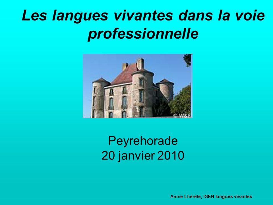 Les langues vivantes dans la voie professionnelle Peyrehorade 20 janvier 2010 Annie Lhérété, IGEN langues vivantes Correspondante académique de l'IGEN