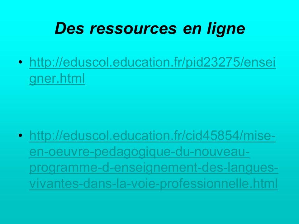 Des ressources en ligne