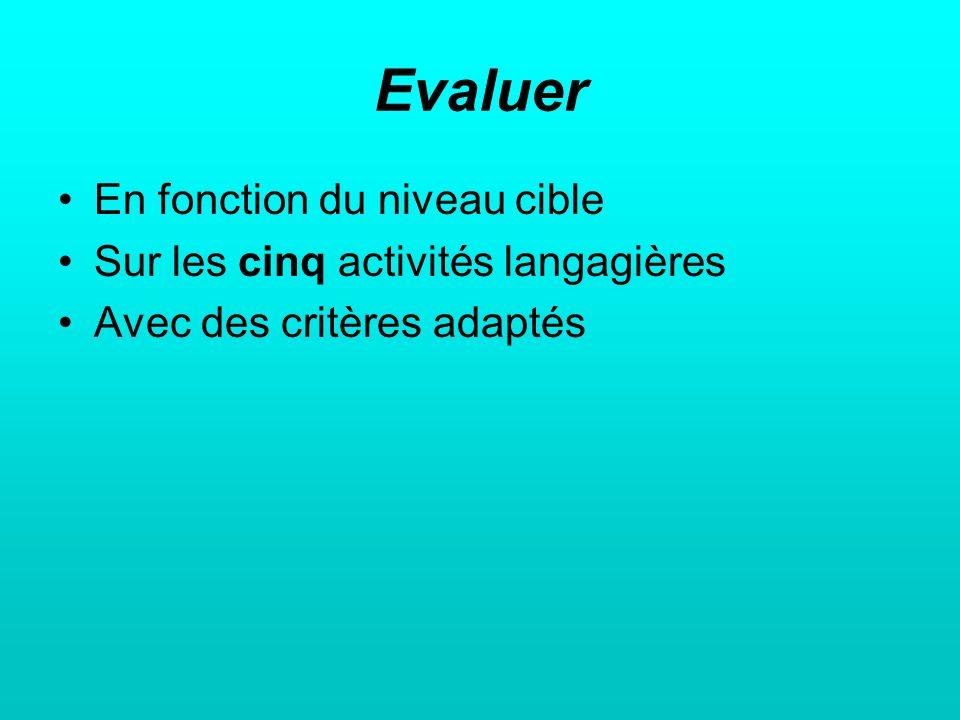 Evaluer En fonction du niveau cible Sur les cinq activités langagières