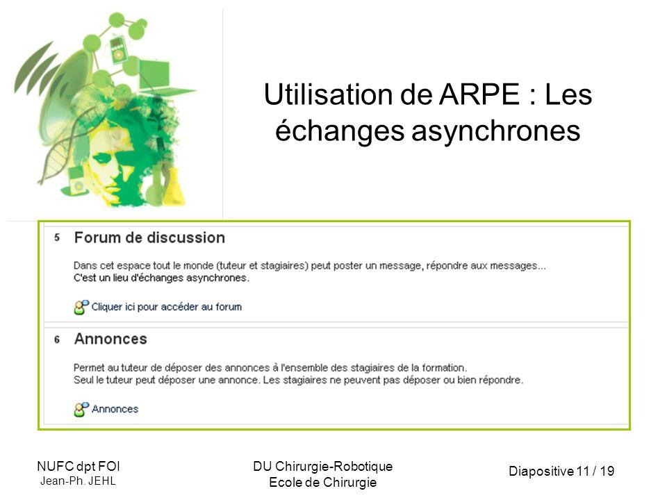 Utilisation de ARPE : Les échanges asynchrones