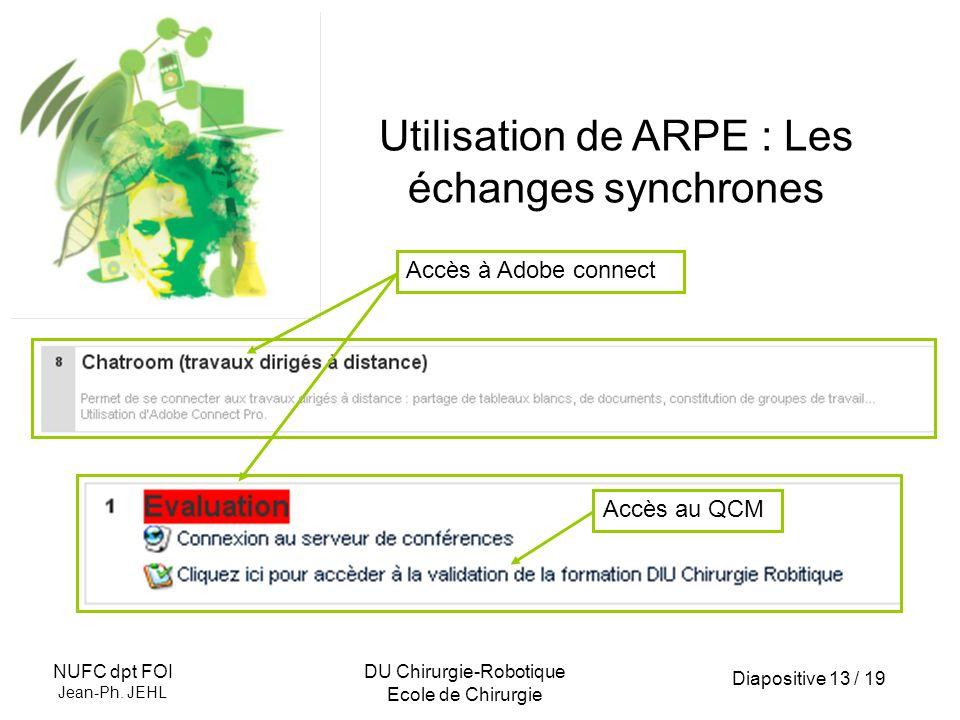 Utilisation de ARPE : Les échanges synchrones
