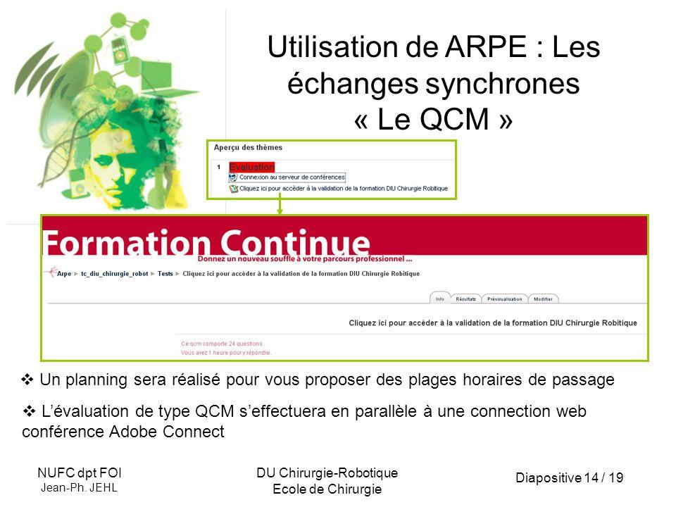 Utilisation de ARPE : Les échanges synchrones « Le QCM »