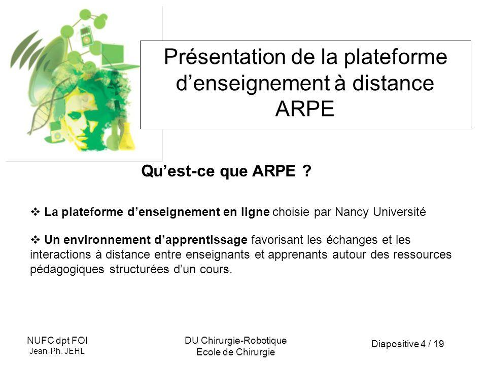 Présentation de la plateforme d'enseignement à distance ARPE