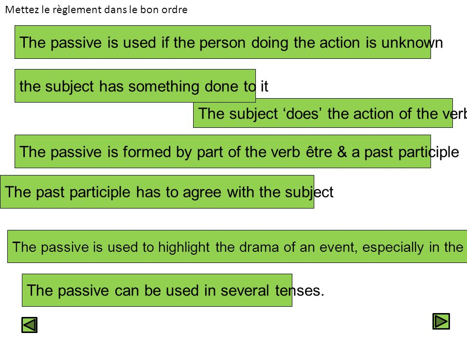 The passive is used if the person doing the action is unknown