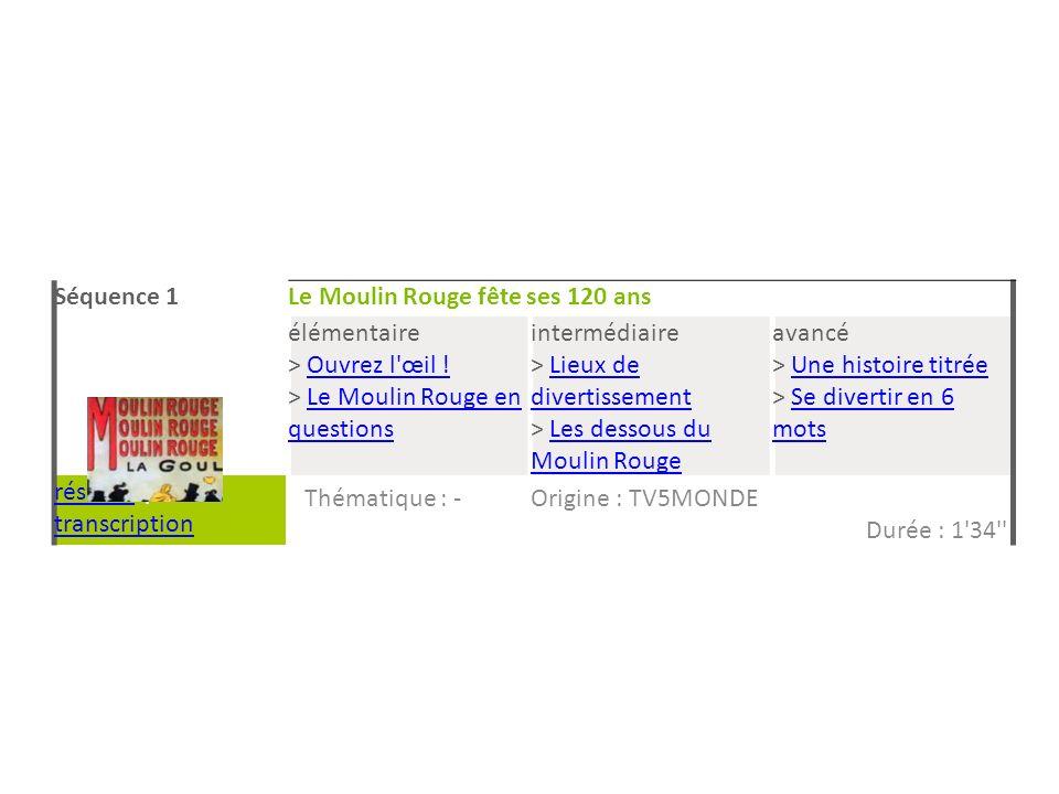 Séquence 1 Le Moulin Rouge fête ses 120 ans. élémentaire. > Ouvrez l œil ! > Le Moulin Rouge en questions.