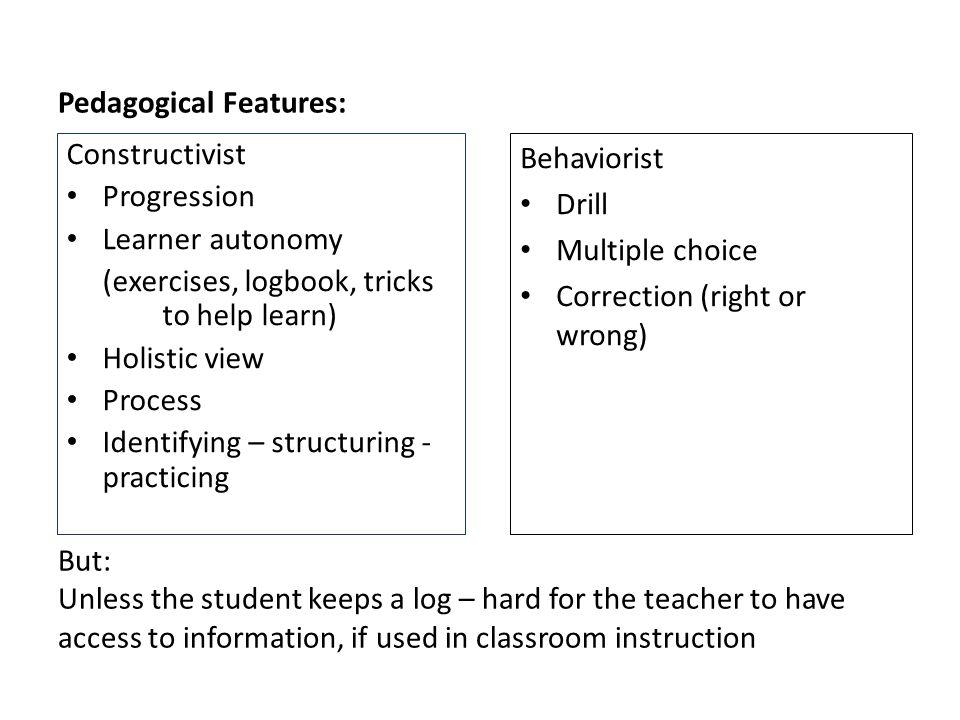 Pedagogical Features:
