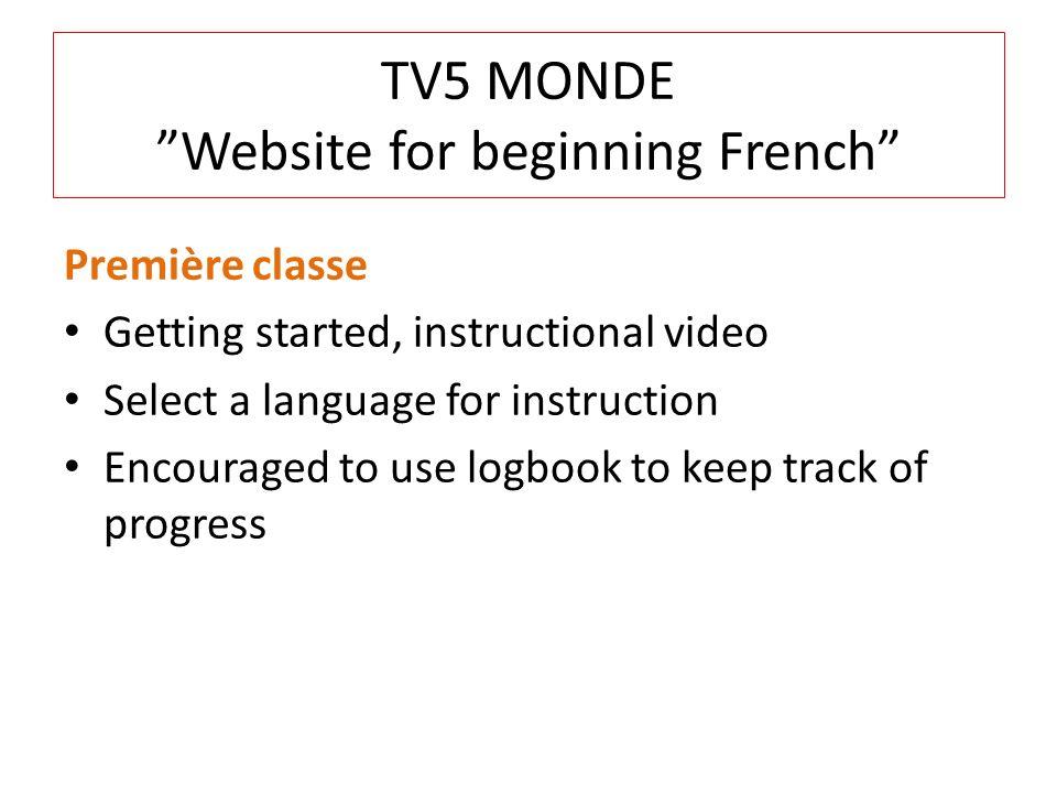 TV5 MONDE Website for beginning French
