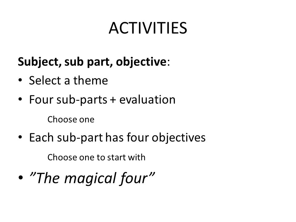 ACTIVITIES The magical four Subject, sub part, objective: