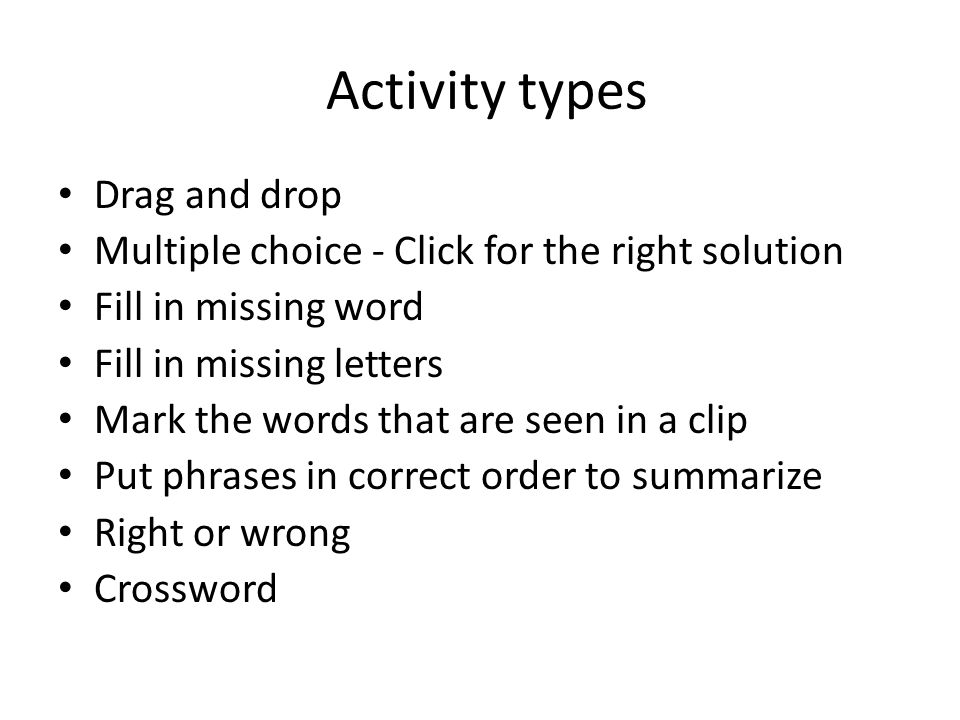 Activity types Drag and drop
