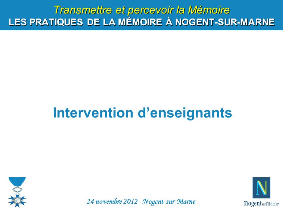 Intervention d'enseignants