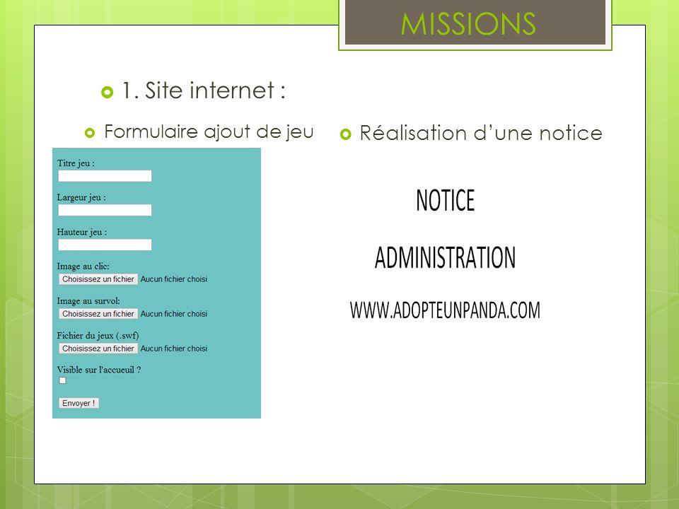 MISSIONS 1. Site internet : Réalisation d'une notice