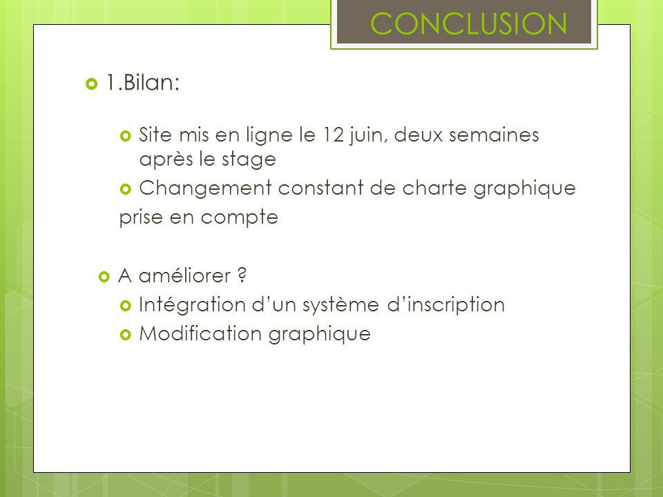 CONCLUSION 1.Bilan: Site mis en ligne le 12 juin, deux semaines après le stage. Changement constant de charte graphique.