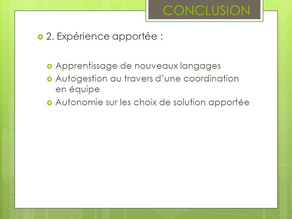 CONCLUSION 2. Expérience apportée : Apprentissage de nouveaux langages