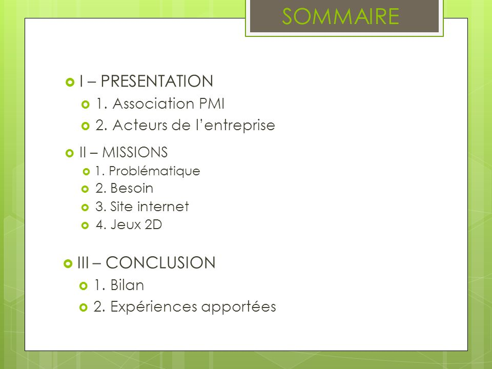SOMMAIRE I – PRESENTATION III – CONCLUSION 1. Association PMI