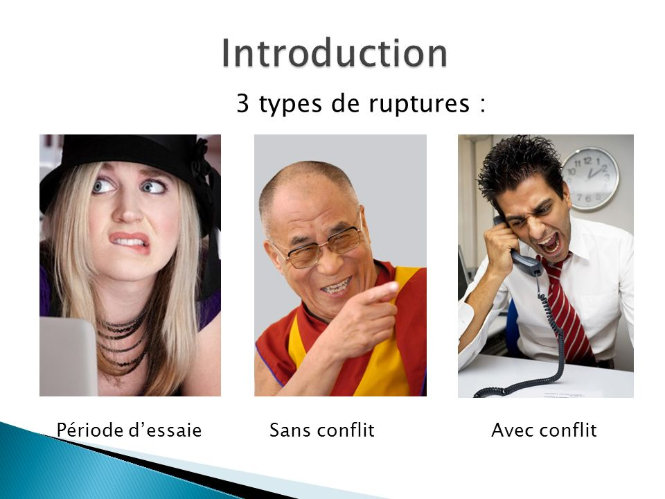 Introduction 3 types de ruptures : Période d'essaie Sans conflit