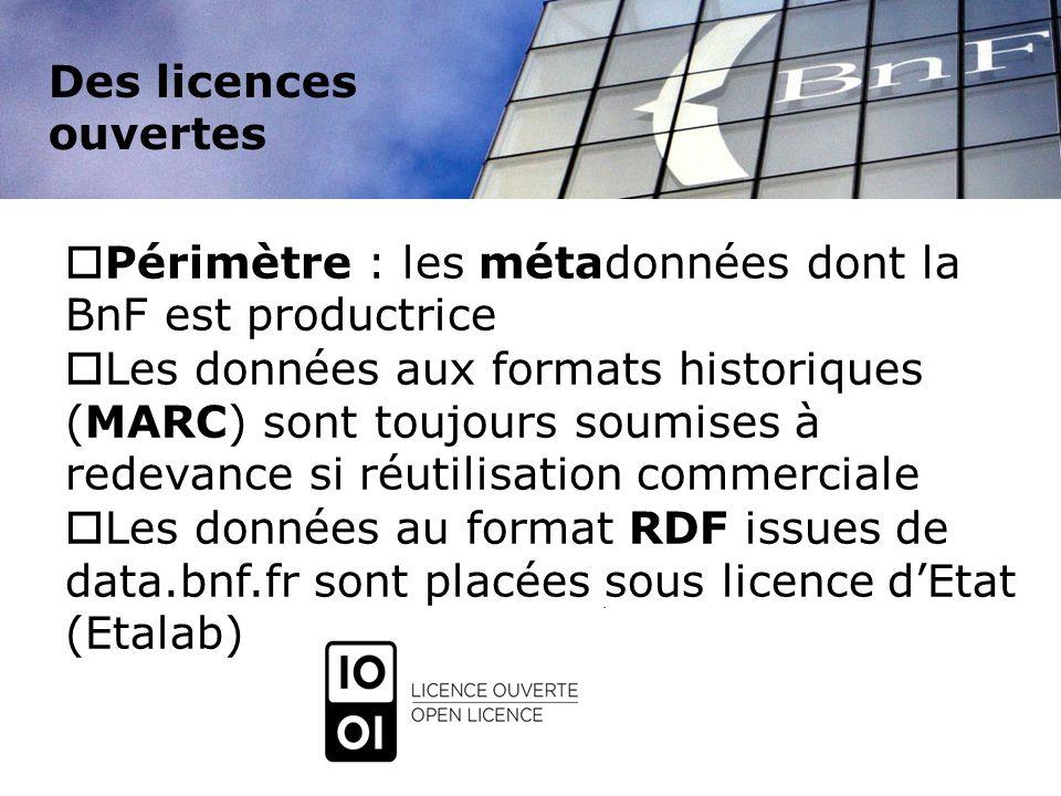 Des licences ouvertes Périmètre : les métadonnées dont la BnF est productrice.