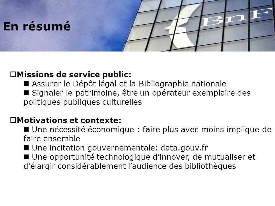 En résumé Missions de service public: