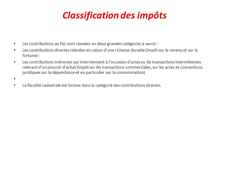 Classification des impôts