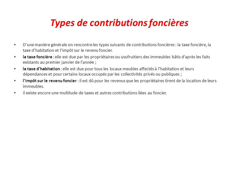 Types de contributions foncières