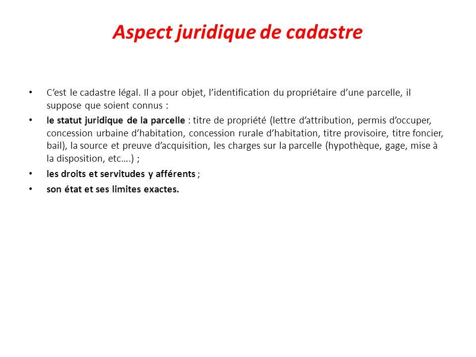 Aspect juridique de cadastre