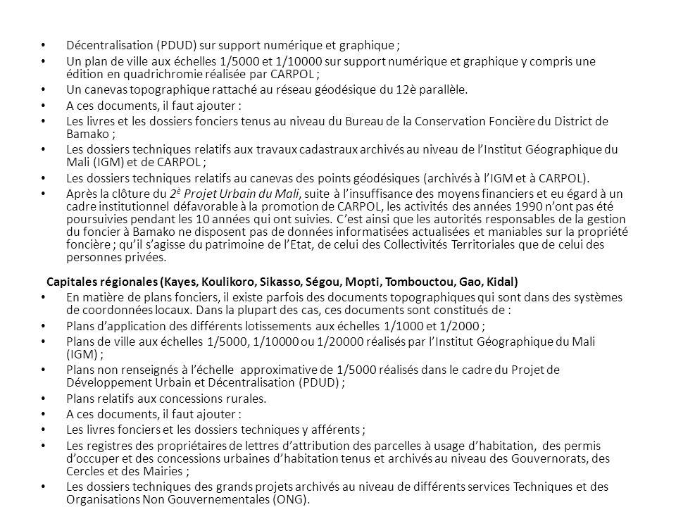 Décentralisation (PDUD) sur support numérique et graphique ;