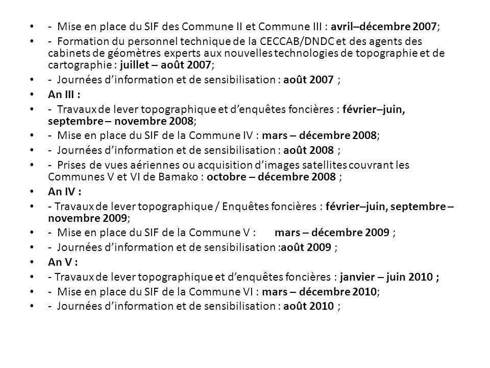 - Mise en place du SIF des Commune II et Commune III : avril–décembre 2007;