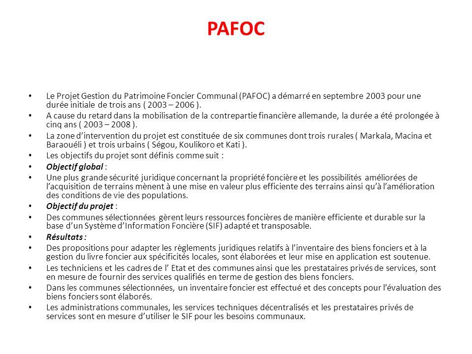 PAFOC Le Projet Gestion du Patrimoine Foncier Communal (PAFOC) a démarré en septembre 2003 pour une durée initiale de trois ans ( 2003 – 2006 ).