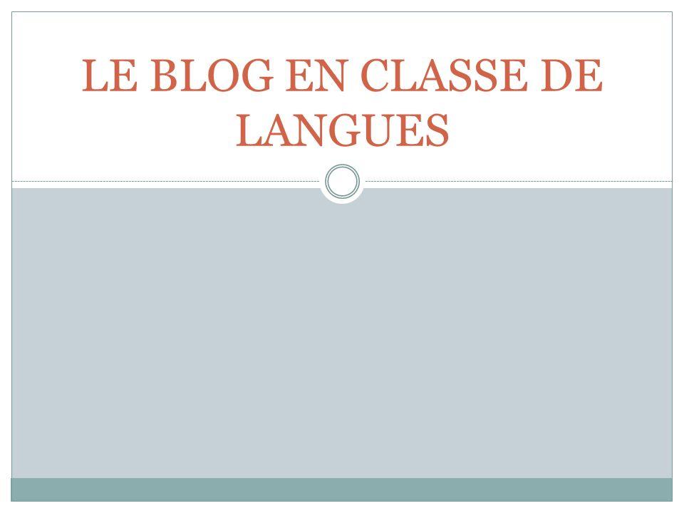LE BLOG EN CLASSE DE LANGUES