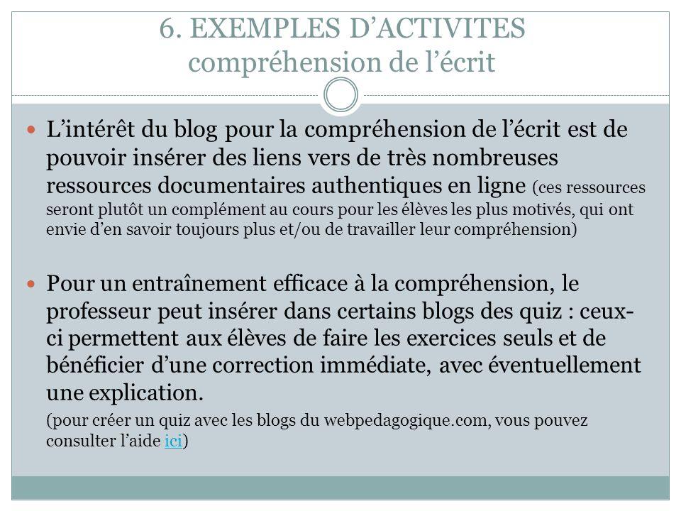 6. EXEMPLES D'ACTIVITES compréhension de l'écrit
