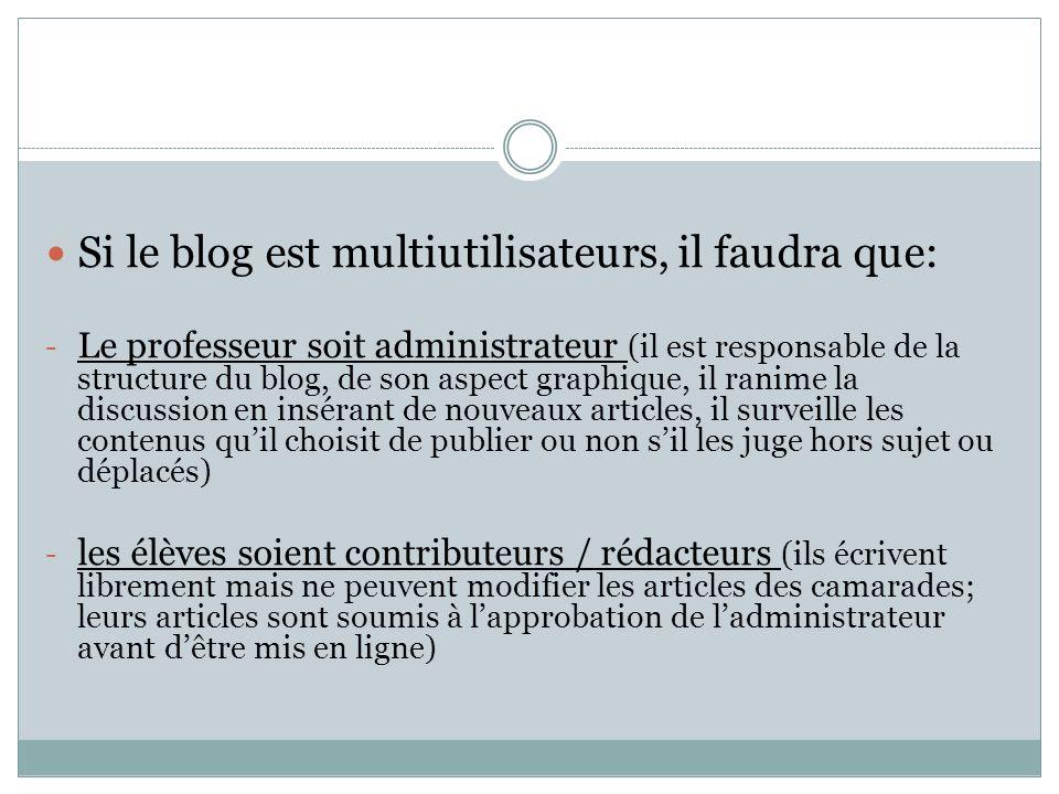 Si le blog est multiutilisateurs, il faudra que: