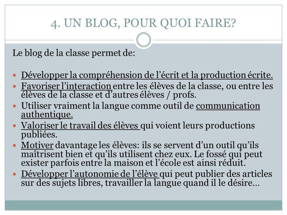 4. UN BLOG, POUR QUOI FAIRE Le blog de la classe permet de: