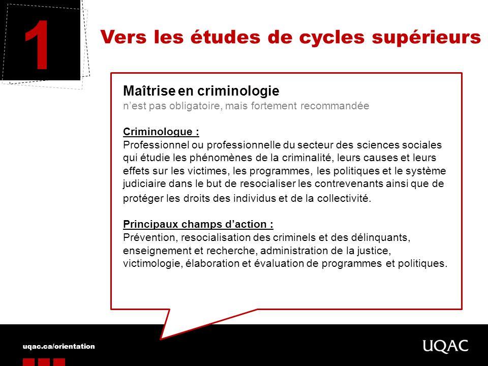 1 Vers les études de cycles supérieurs Maîtrise en criminologie