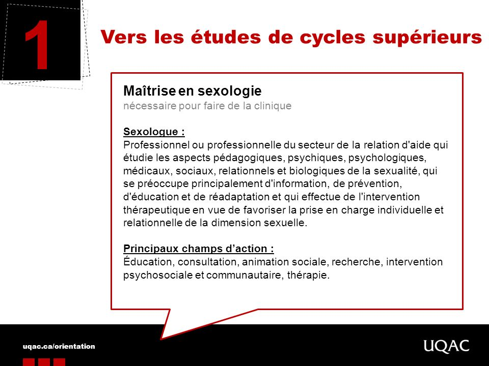 1 Vers les études de cycles supérieurs Maîtrise en sexologie