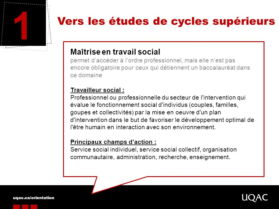 1 Vers les études de cycles supérieurs Maîtrise en travail social