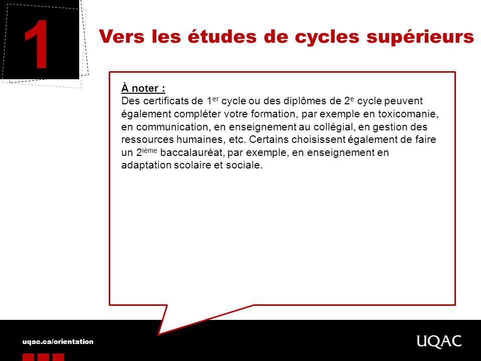1 Vers les études de cycles supérieurs À noter :