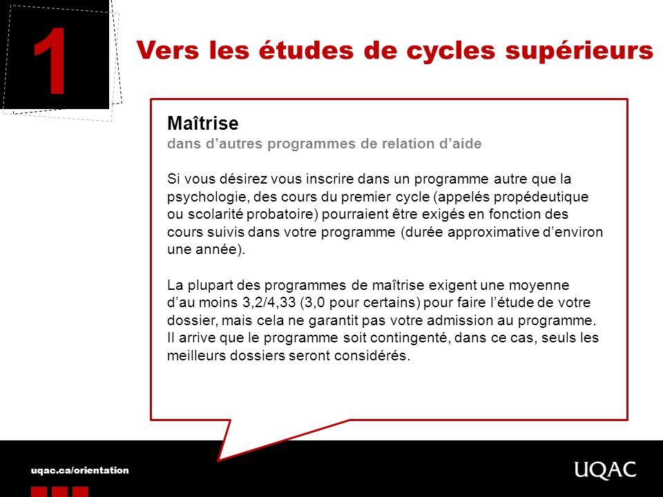 1 Vers les études de cycles supérieurs Maîtrise