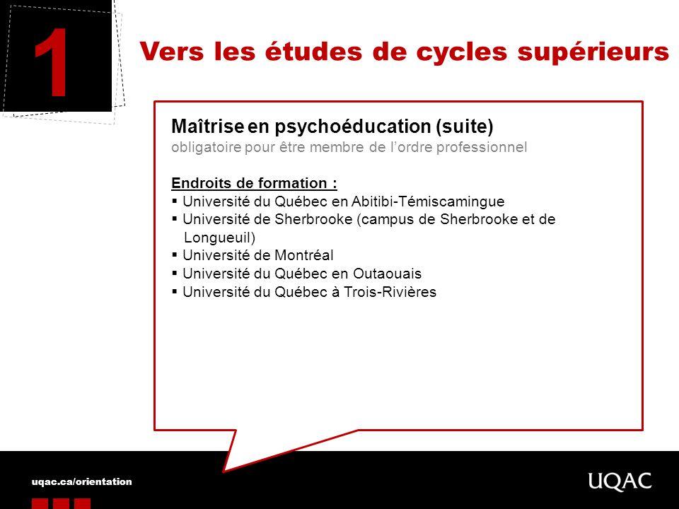 1 Vers les études de cycles supérieurs