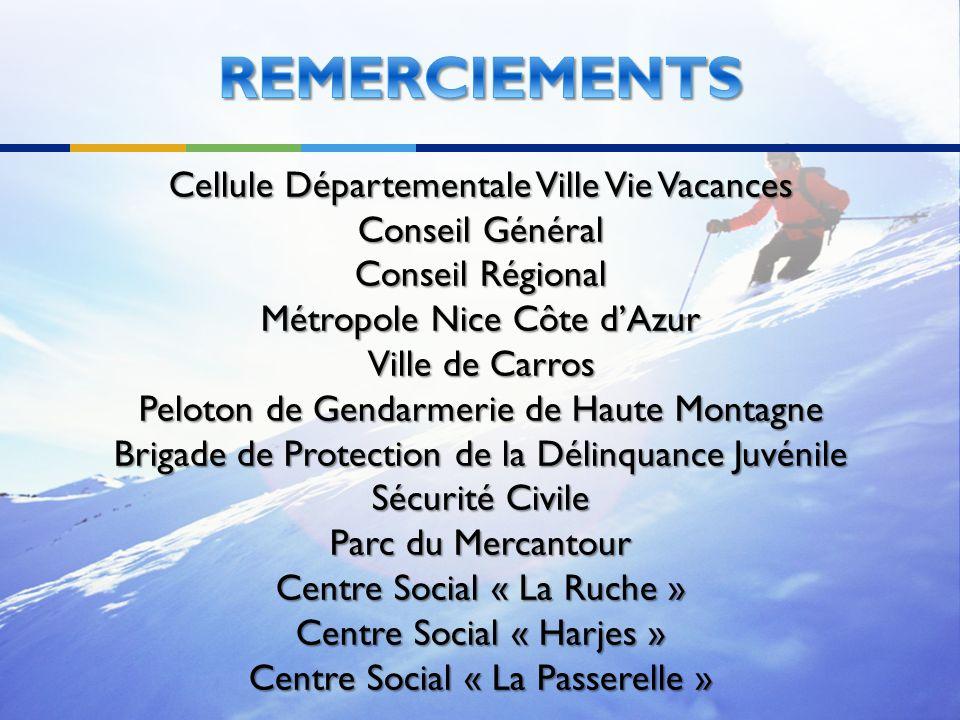 REMERCIEMENTS Cellule Départementale Ville Vie Vacances