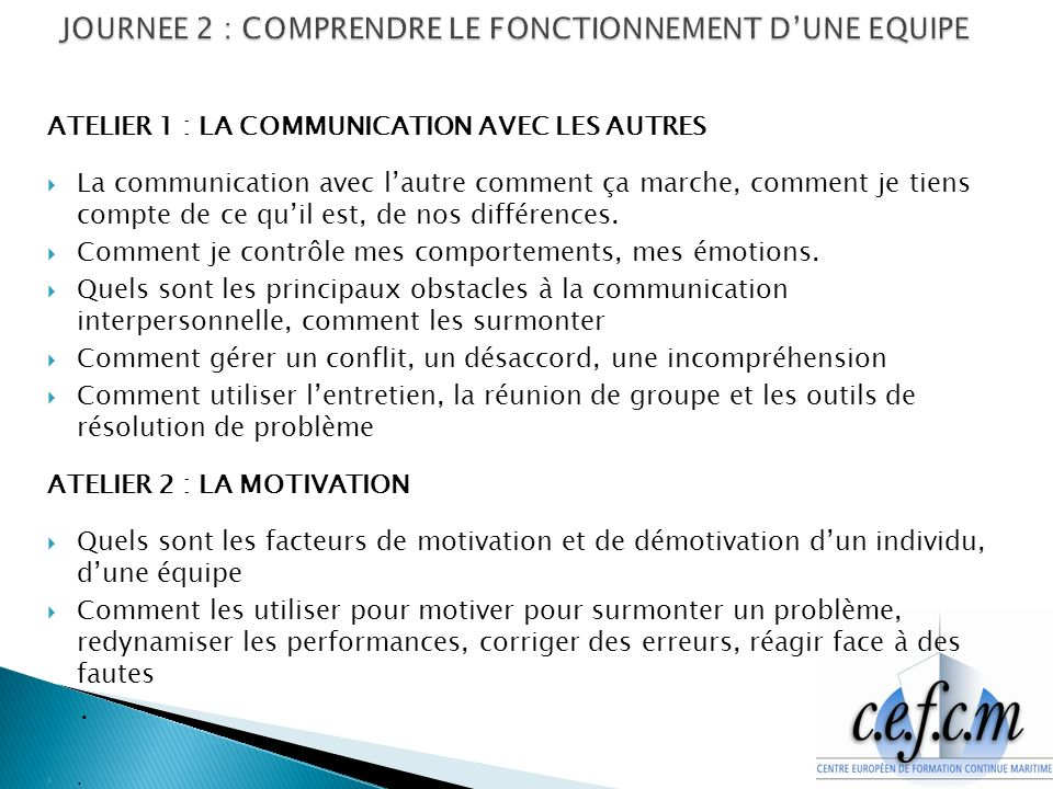 JOURNEE 2 : COMPRENDRE LE FONCTIONNEMENT D'UNE EQUIPE