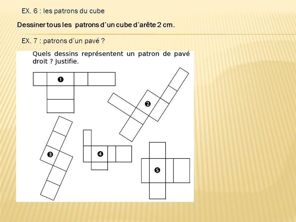 EX. 6 : les patrons du cube Dessiner tous les patrons d'un cube d'arête 2 cm.